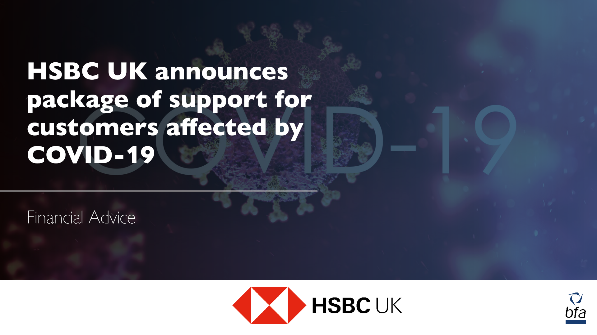 HSBC UK announces package of support for customers affected by COVID-19