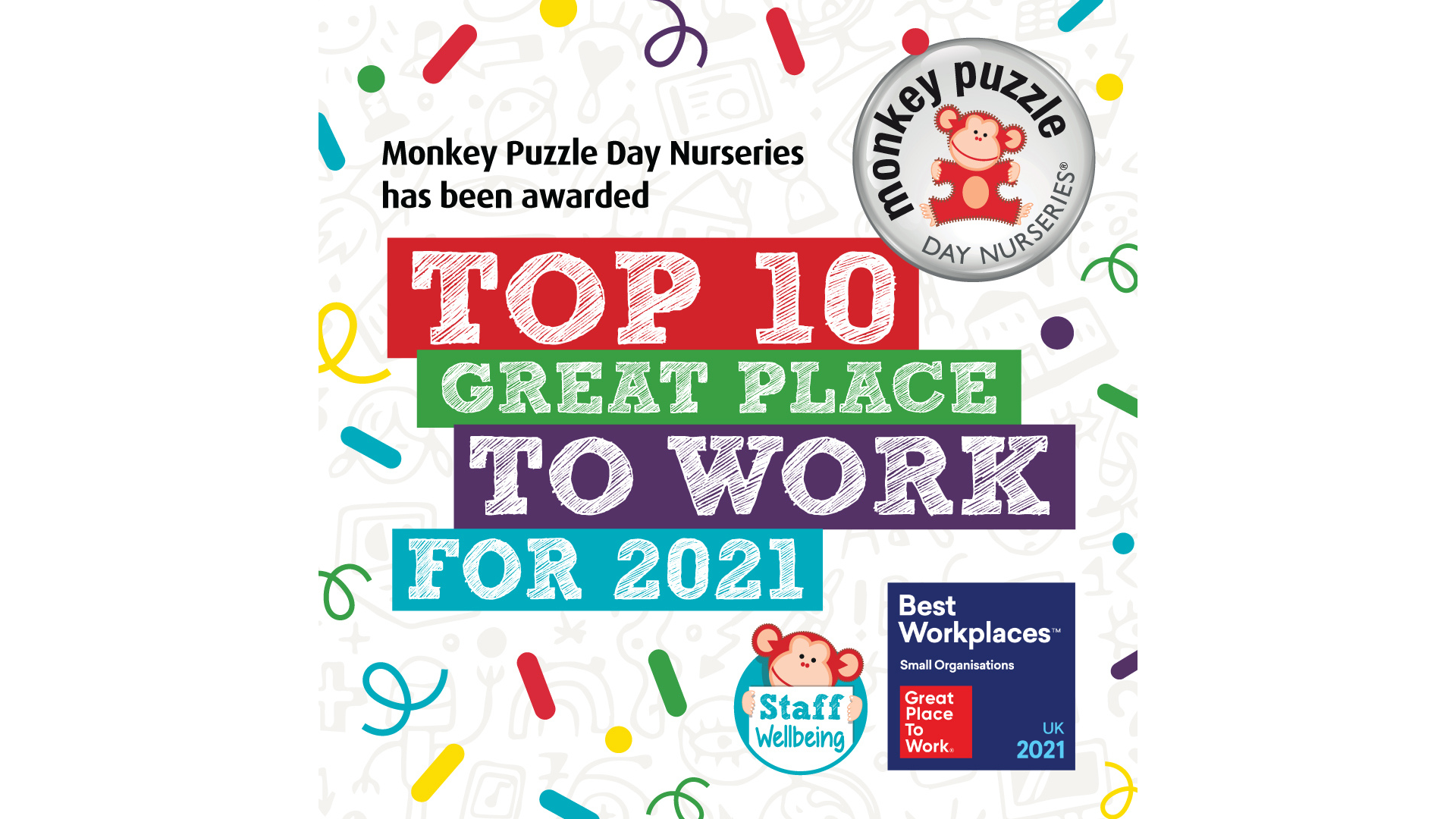 MONKEY PUZZLE DAY NURSERIES IS NUMBER 22 ON THE GPTW #UKBESTWORKPLACES LIST!