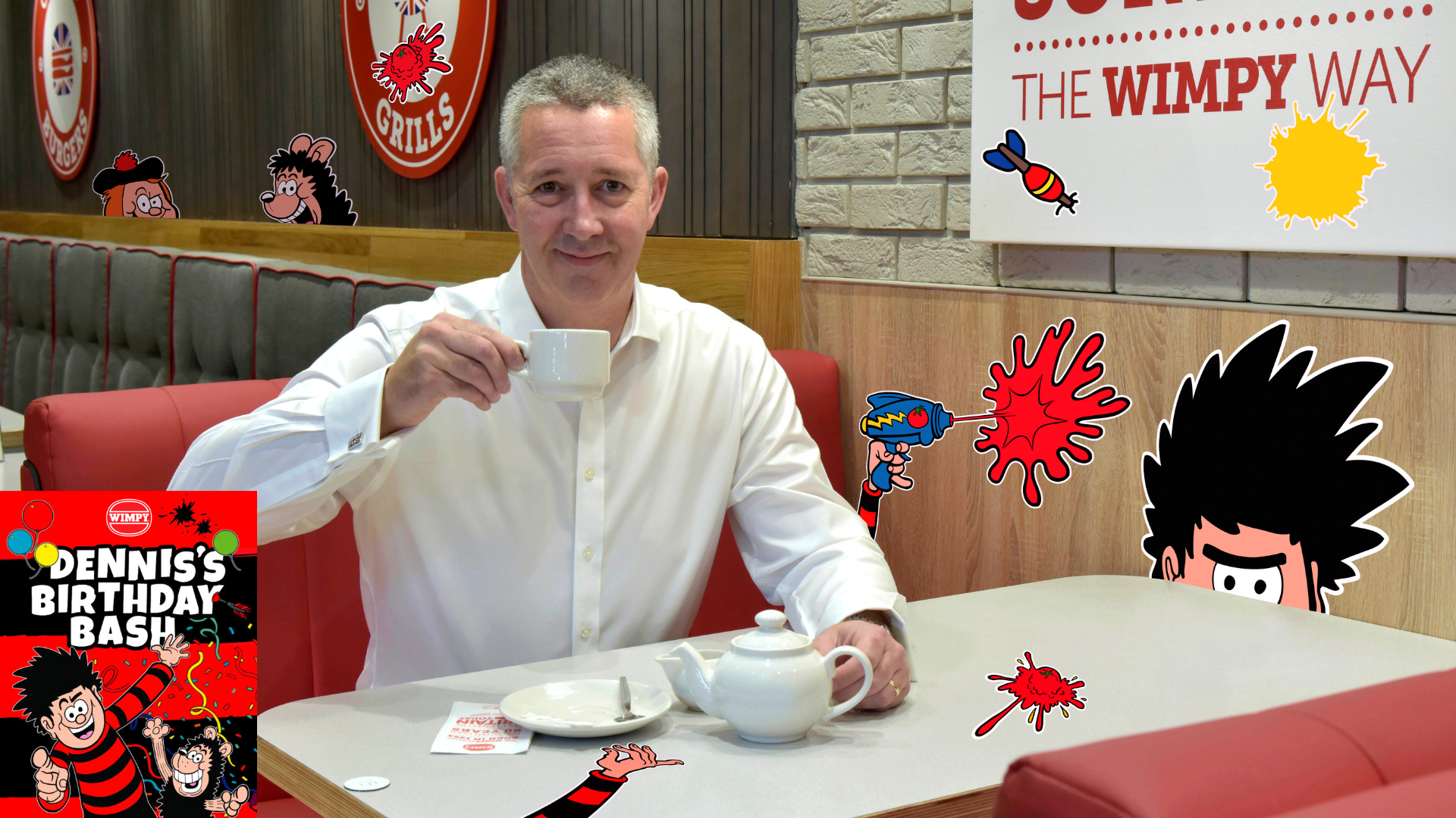 Wimpy UK General Manager Chris Woolfenden helps to get the party started